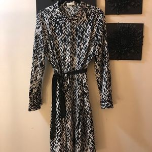 Calvin Klein black and white shirt tailored dress